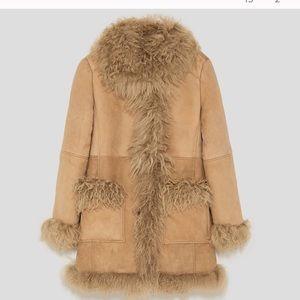 Zara Studio NWT %100 Leather Fur Coat
